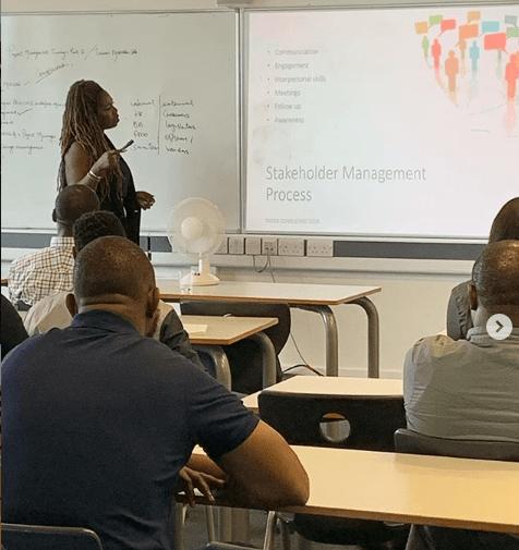 adeshola presenting at taster session